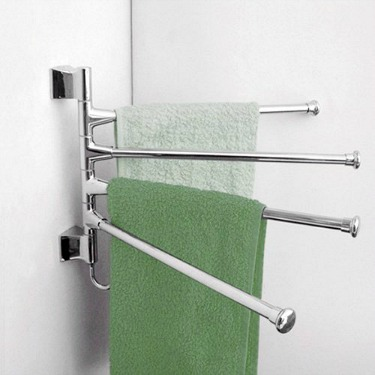 Corner towel rack