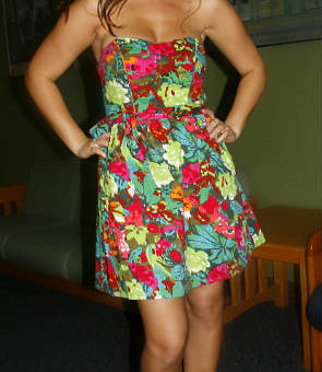 Corrina, a college fashionista from Northern Arizona University, wearing a floral print dress