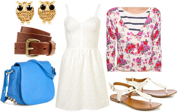 How to wear a corset dress for day with a floral cardigan, blue saddle bag, white sandals, brown belt, and gold owl earrings