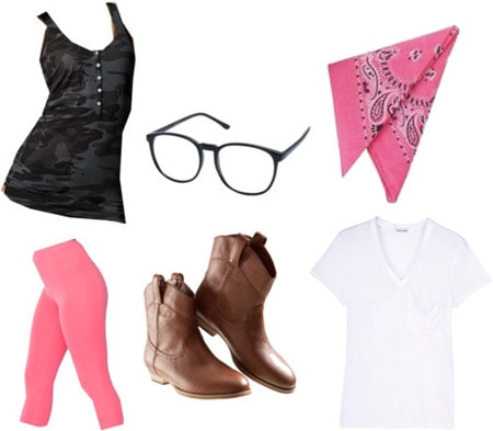 Costume party basics: White tee, cowboy boots, neon leggings, bandana, glasses, tank