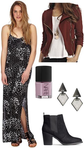 Cotton on printed maxi dress, burgundy moto jaket, booties, drop earrings