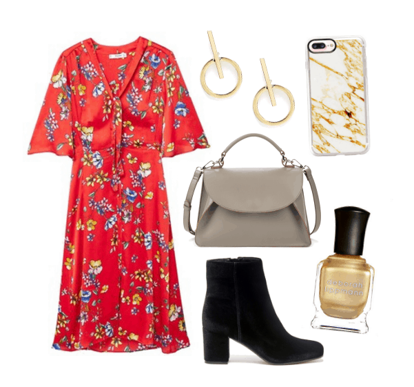 Work outfits ideas: Red couch floral midi dress, taupe envelope satchel, suede ankle boots, minimalist earrings, gold nail polish