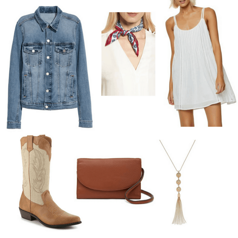 Country Music-inspired outfit with denim jacket, white dress, cowboy boots, tassel necklace, bandana, and crossbody bag