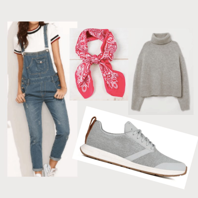 Winter vacation outfit ideas: Outfit for the European countryside with overalls, turtleneck scarf, head scarf, white sneakers