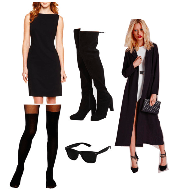 Atomic Blonde Fashion: Outfit inspired by Lorraine's spy look with black sheath dress, black over-the-knee boots, black thigh highs, black sunglasses, and a long black trench