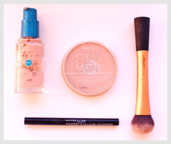 Covergirl-3-in-1-Foundation-Stay-Matte-Rimmel-Powder-Real-Techniques-Brush-Maybelline-Master-Precise-Liquid-Eyeliner-Collage