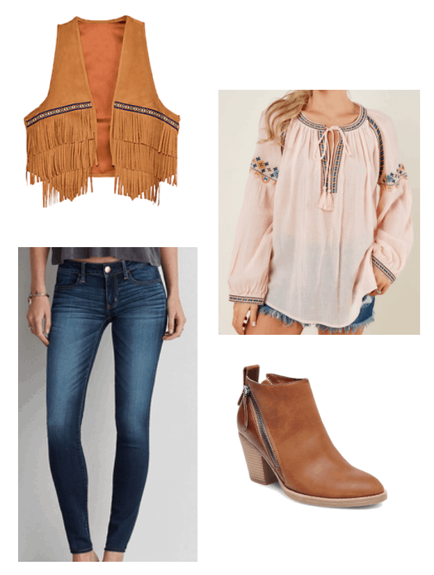 How to repurpose a costume: Cowgirl fringe vest worn with a peasant blouse, zip-up ankle booties in brown, and dark wash skinny jeans