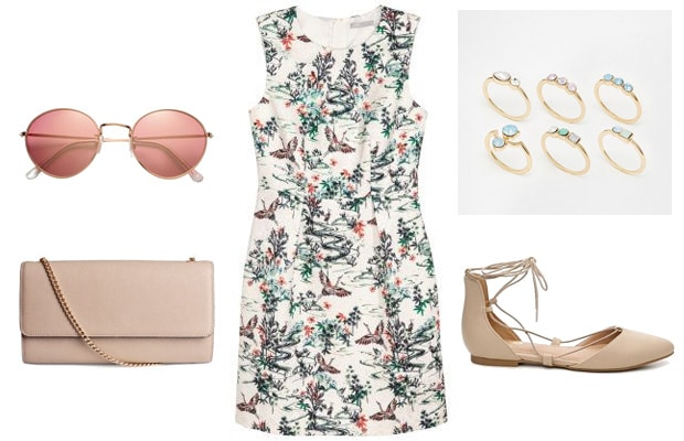 Crane print spring dress outfit