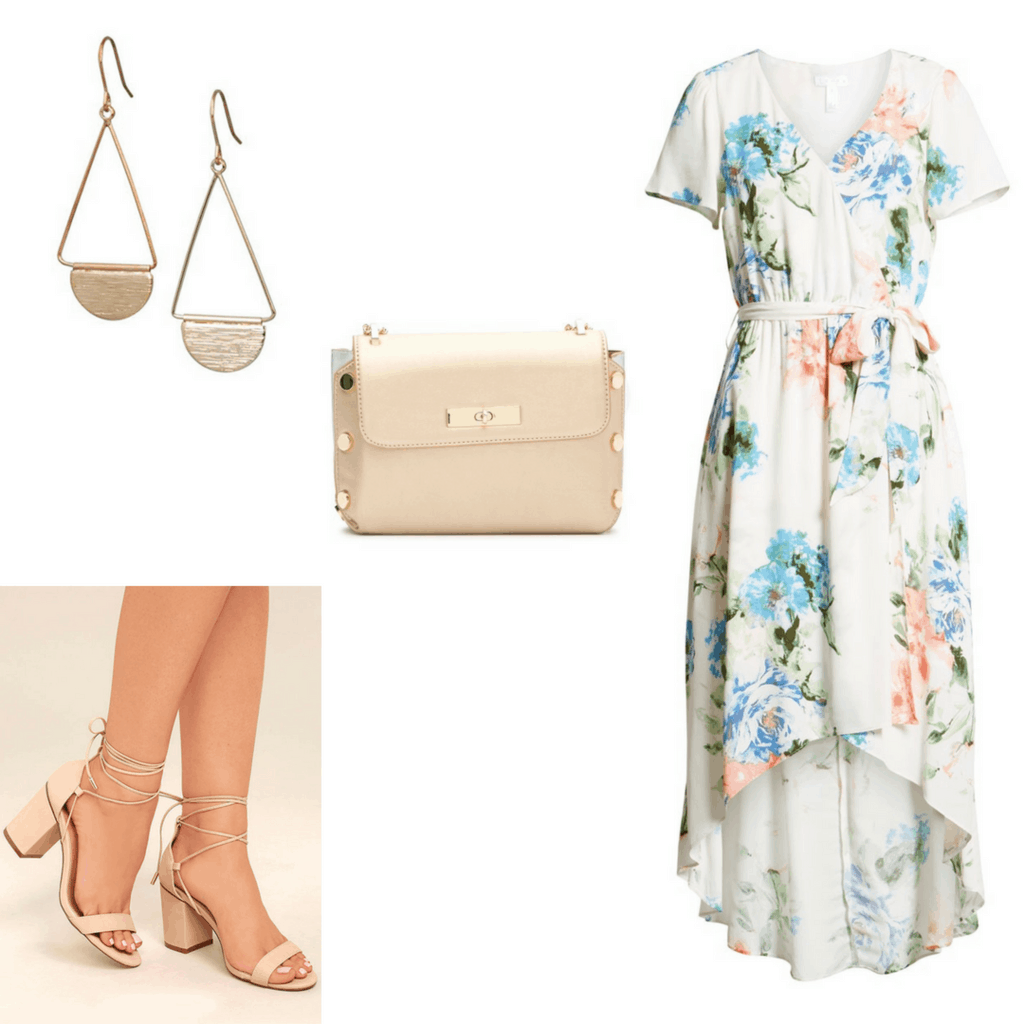 Get Rachel's look from Crazy Rich Asians: Water-Color Floral Dress; Pastel Pink Cross-body Bag with Metal Embellishments; Pendant Half-Circle Earrings; Chunky Tie-Up Nude Heels