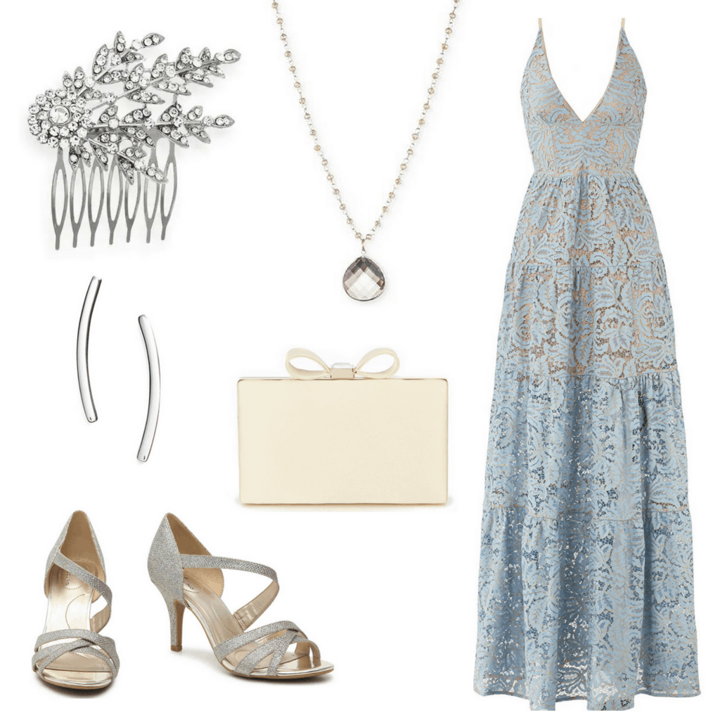 Get Rachel's look from Crazy Rich Asians: Crystal Hair Embellishment; Delicate Teardrop Necklace; Bow-Tie Clutch; Silver Heels; Curved Bar Silver Earrings