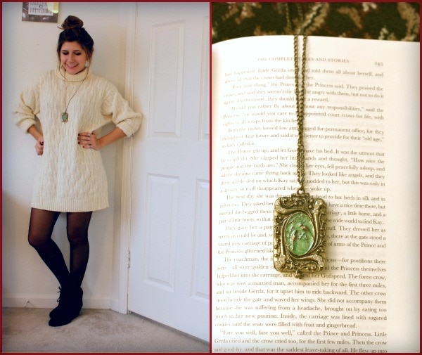 Cream turtleneck sweater tights long green gold necklace