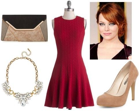 Crimson dress, camel pumps, colorblock clutch
