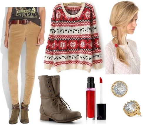 Crimson fair isle sweater, camel cords, combat boots