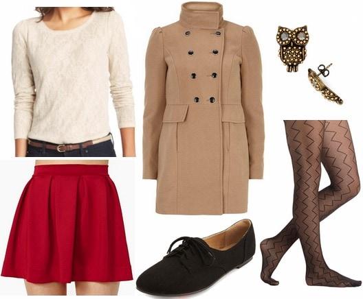 Crimson skirt camel coat lace top oxfords