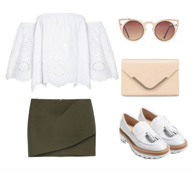 off the shoulder crisp neutrals outfit
