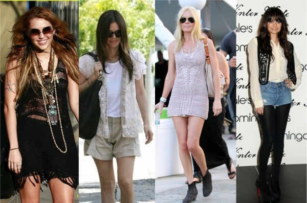 Crochet fashion trend seen on Miley Cyrus, Rachel Bilson, Kate Bosworth, and Nicole Richie