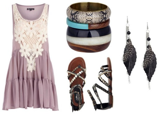 Crochet dress outfit with sandals and jewelry
