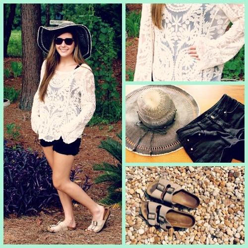 Crochet patterned top back cutoff shorts birkenstocks straw hat