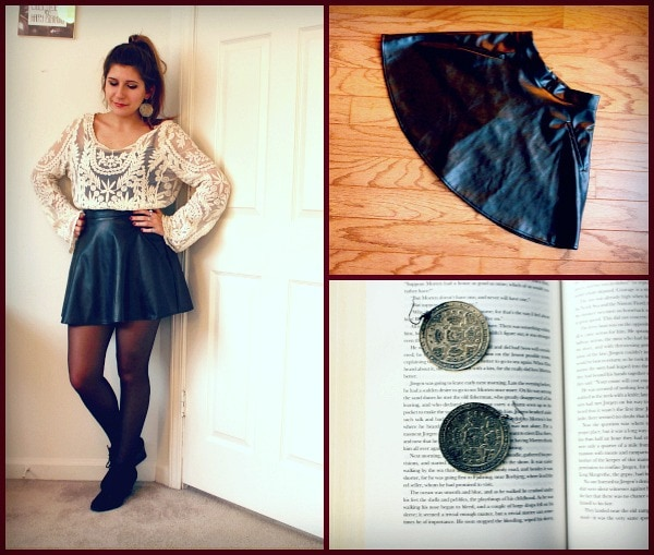 Crochet top pleather black circle skirt black ankle boot wedges round silver earrings