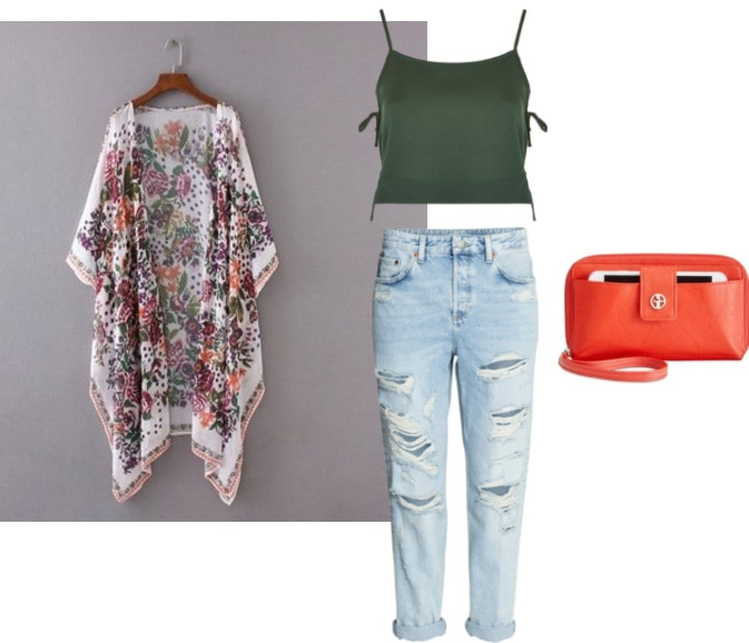 How to wear a floral kimono with a green crop top and orange clutch -- any neutral shoe would work with this outfit