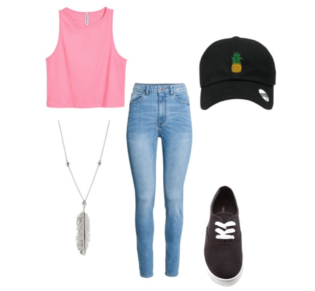 dad hat outfit with crop