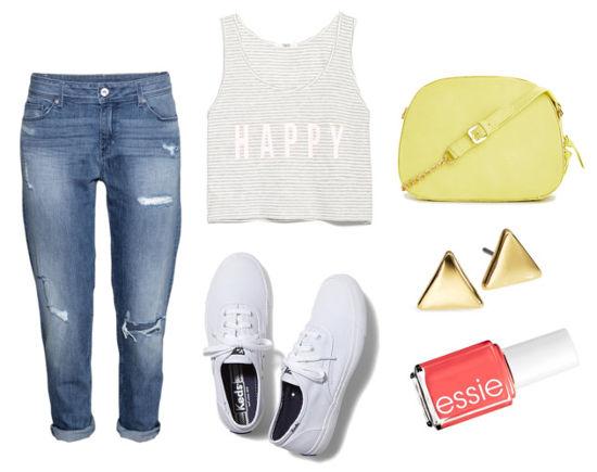 boyfriend jeans, cropped sweater, keds