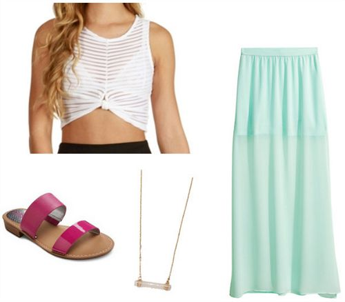 crop top and maxi skirt look