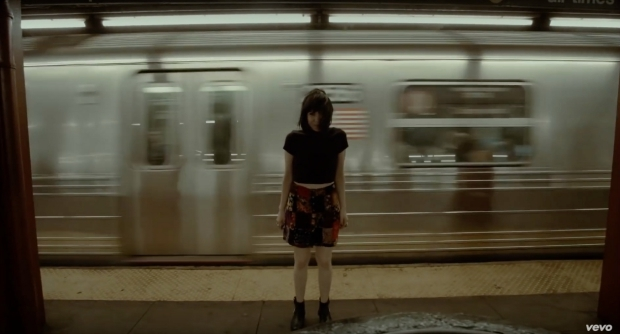 Carly Rae Jepsen printed skirt and booties