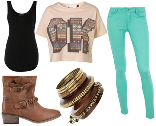 How to wear a crop top for class with aqua jeans, a black tank, wood bangles and brown ankle boots