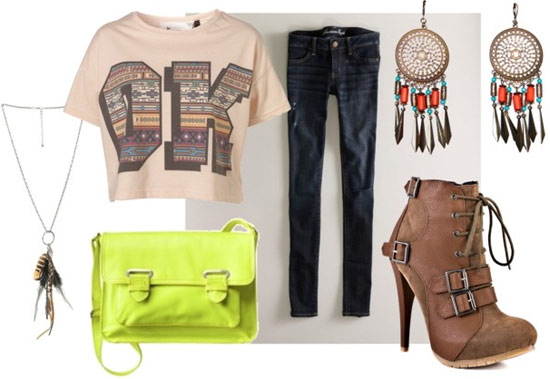 How to wear a crop top for a party/night out with dark wash jeggings, a neon yellow cross body bag, brown ankle booties, and feather earrings and necklace