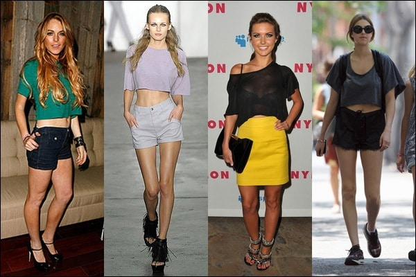 Lindsay Lohan, Alexander Wang model, Audrina Patridge, and Whitney Port wearing crop tops