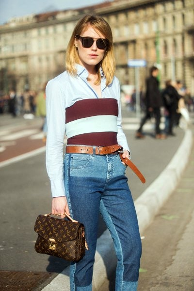 crop top over a shirt streetstyle