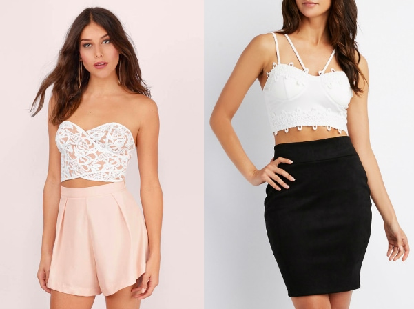 Cropped bustier top trend (from left to right): white lace strapless sweetheart top from Tobi and a white lace multi-strap top from Charlotte Russe.