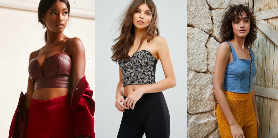 Cropped bustier top trend (from left to right): maroon faux leather bustier top with a deep v-neck from Forever 21, a strapless black and white daisy print top rom ASOS, and a denim zip-up top from Urban Outfitters.