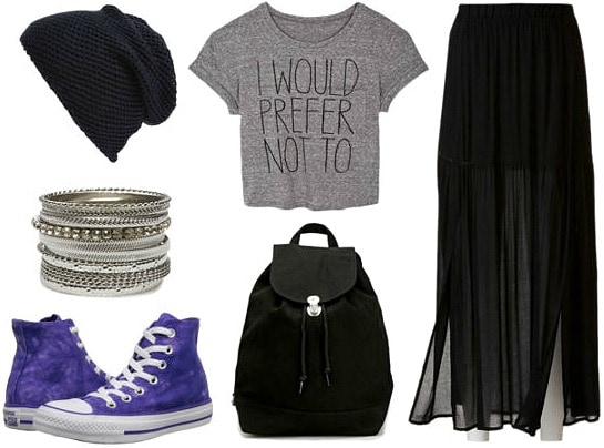 Cropped graphic tee and black maxi skirt look