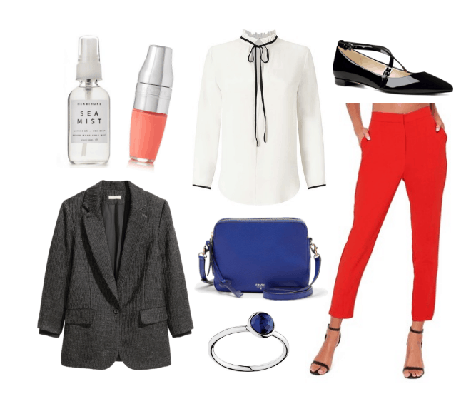 Work outfit idea with cropped red pants, black blazer, white bow blouse, and cobalt blue bag
