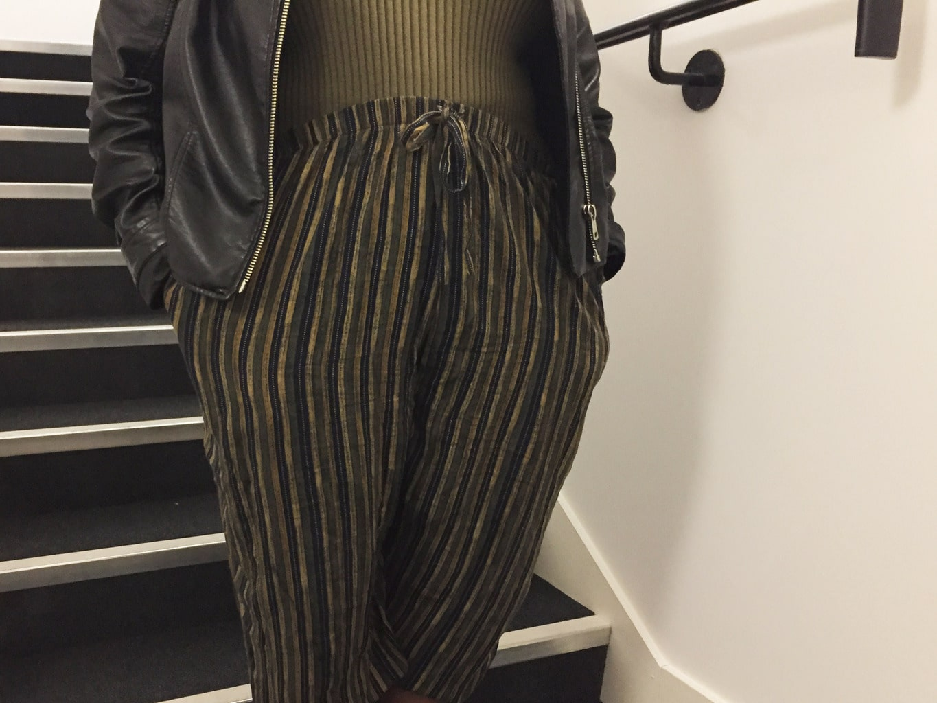 Cropped, striped pants at the London College of Fashion