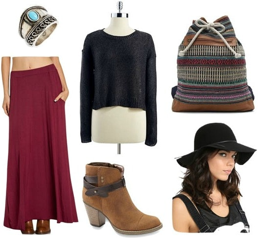 Cropped sweater and maxi skirt fall outfit