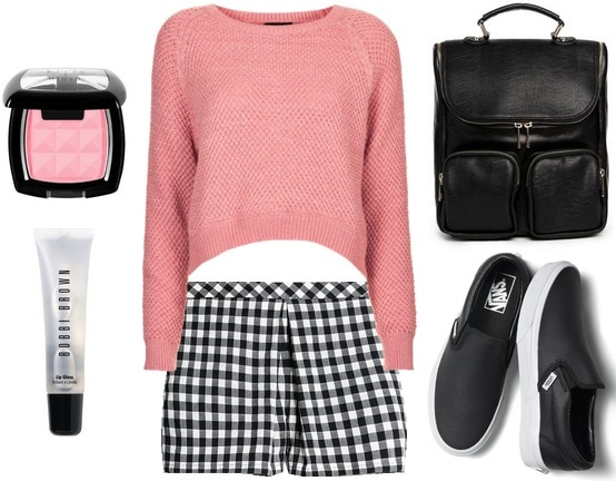 Cropped sweater, gingham shorts, Vans slip-ons