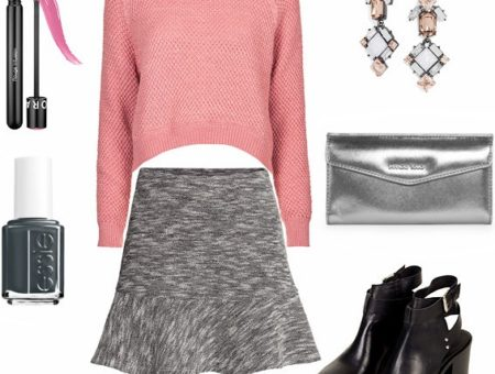 Cropped sweater, gray skirt, ankle booties