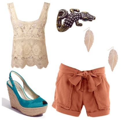 How to wear a crop top: lace crop top and high-waisted shorts