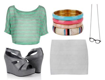How to wear a crop top: stripe crop top and bandage skirt