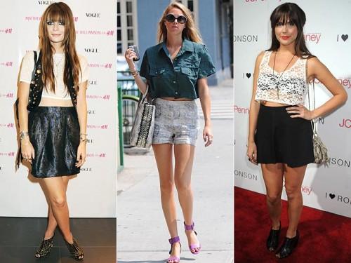 Celebrities wearing crop tops: Mischa Barton, Whitney Port, and Sophia Bush