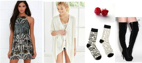 Outfit inspired by Cruel Beauty: Cozy cardigan, dress, socks, earrings