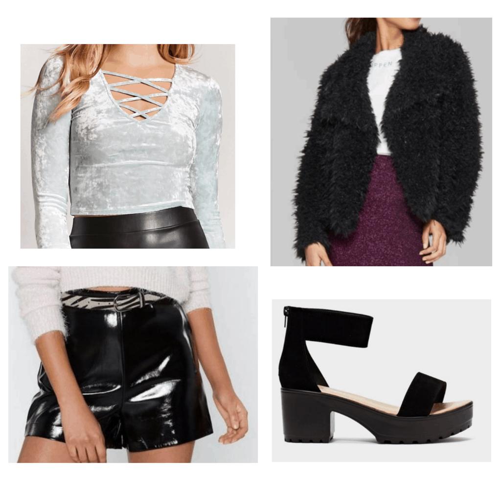 Teal crushed velvet crop top, faux black leather shorts, faux fur jacket, black platform sandals