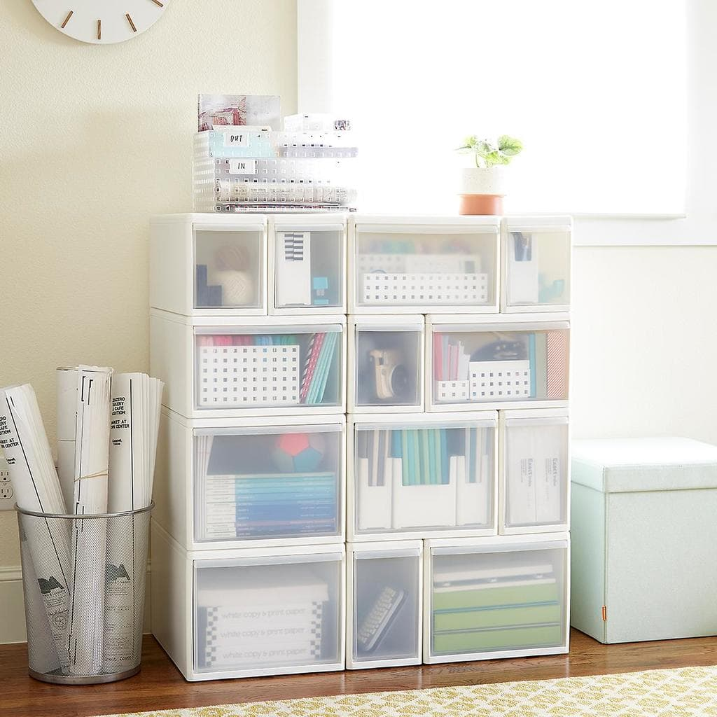 Dorm room storage ideas - White and clear cube storage drawers.