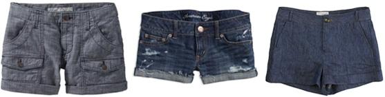 Cuffed denim shorts