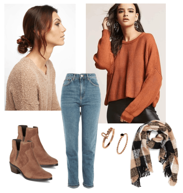 How to wear scrunchies: Cute and casual outfit with mom jeans, burnt orange sweater, faux suede booties, buffalo check scarf