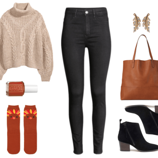 """Thanksgiving dinner outfits: Beige oversized cable-knit turtleneck sweater, Essie Nail Polish in """"Playing Koi,"""" a warm cognac-brown color; cognac-brown turkey graphic socks, black high-rise super-skinny jeans, gold leaf-shaped earrings with clear stones, cognac-brown faux-leather tote, black heeled ankle boots with diagonal zipper"""