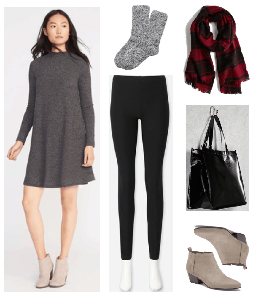 Thanksgiving dinner outfits: Gray mock-neck long-sleeved swingy sweater-dress, black-and-white marled boot socks, black leggings, red-and-black plaid scarf, black glossy woven tote, taupe ankle boots with heel and pull-tab at back